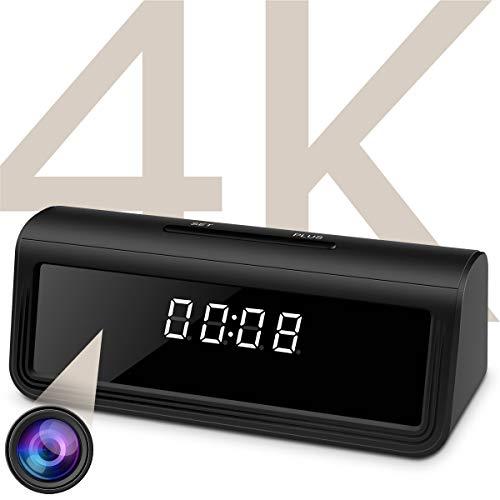 WAYMOON 4K Hidden Spy Camera Wireless Hidden WiFi Clock Camera Home Security Nanny Camera with Night...