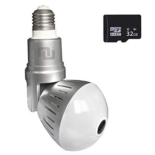 Nucam 380 Premium LED Light Bulb Camera Fisheye APP Controlled Hidden Cam w. 2K 360° Panoramic...